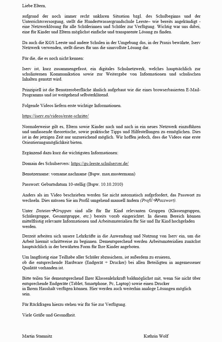 Elternbrief vom 15.04.2020 - Iserv als Netzwerklösung für alle Schülerinnen und Schüler