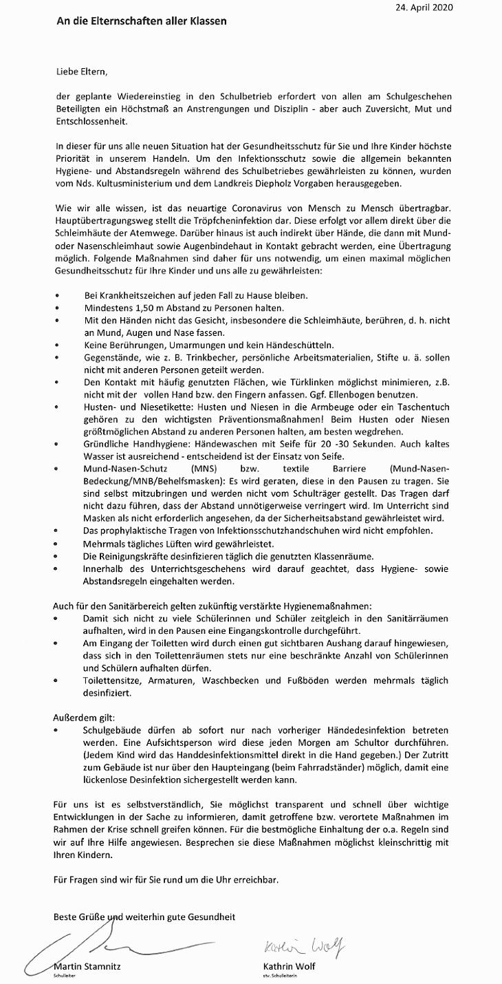 Hygienemaßnahmen - Elternbrief vom 24.04.2020