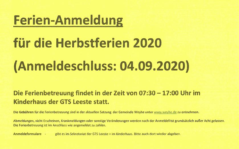 Ferien-Anmeldung Herbstferien 2020