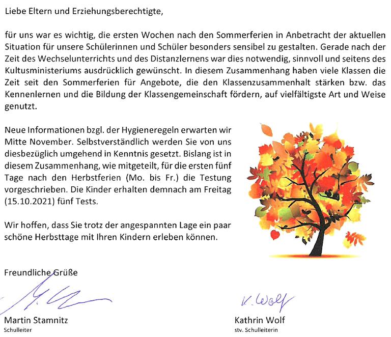 Elternbrief: Herbstgruß